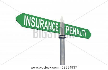 Insurance or Penalty sign concept