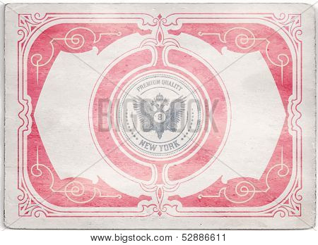 Vector. Vintage card with cracked texture. Baroque style with floral details.  Organized by layers