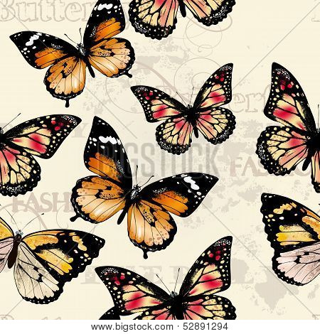 Seamless Vector Pattern  With Butterflies
