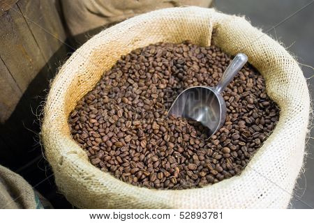 Coffe Beans  In A Bagful, Roasted