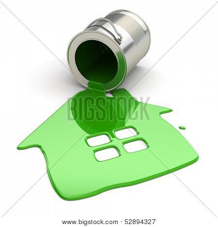 Spilt paint and house symbol. Paintig your home. 3d