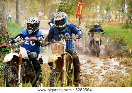 Racer In Activity At Motorcycle Race