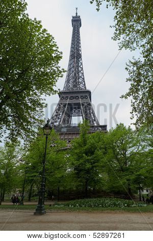 Eiffel Tower Through Trees Straight On With Path