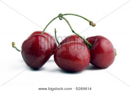 Red Cherry Isolated On A White Background