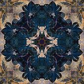 art nouveau geometric ornamental vintage pattern in beige and blue colors poster