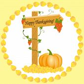 Vector illustration of wooden arrows with grapes and pumpkin Thanksgiving Day in frame of yellow leaves poster