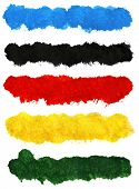 Big size colorful acrylic brush strokes isolated on white background poster