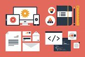Flat design modern vector illustration icons set of business branding and development web page application programming code. Isolated on red background poster