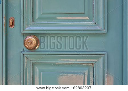 elegant light green door close-up