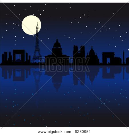 "Black vector ""Paris by night"" silhouette skyline poster"