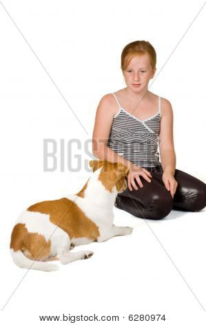 Young Girl Is Training A Jack Russel