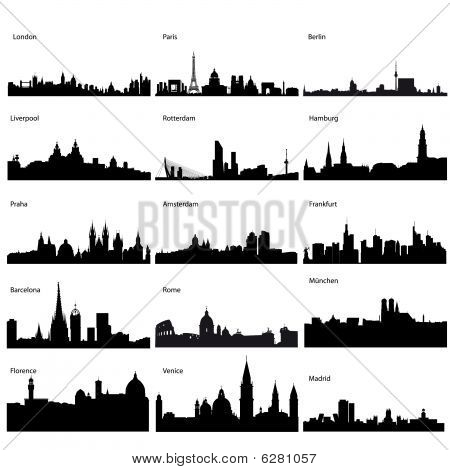 Detailed vector silhouettes of European cities