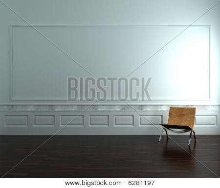 Chair on a blank wall.