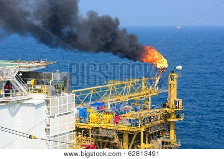 The Gas Flare Is On The Offshore Oil Rig