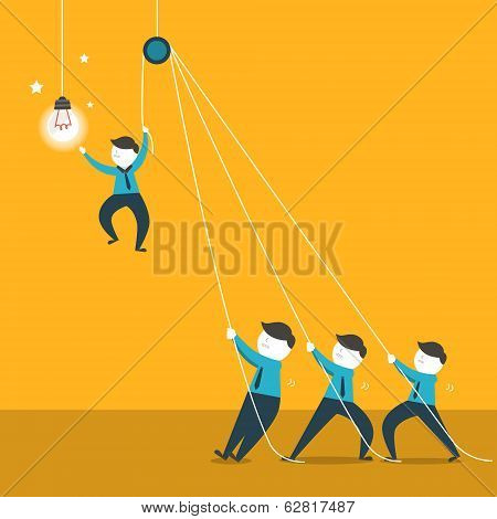 Flat Design Illustration Concept Of Team Work
