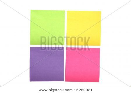 Four Multi Colored Post It Notes