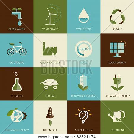 Set of flat designed ecology icons for web and mobile. poster
