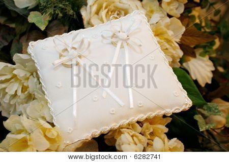 Golden Wedding Rings On Embroidered Pad