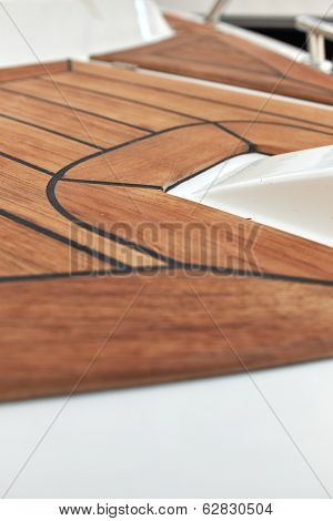 Sailboat bow, wood deck detail,