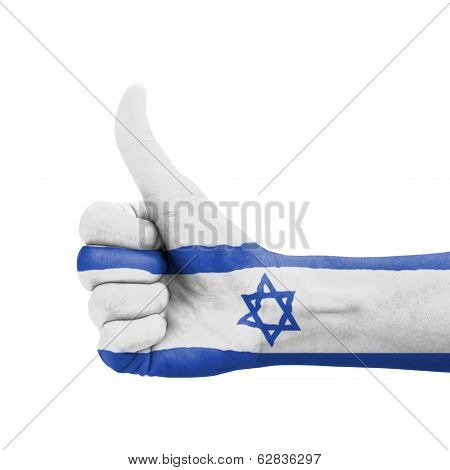 Hand With Thumb Up, Israel Flag Painted As Symbol Of Excellence, Achievement, Good - Isolated On Whi