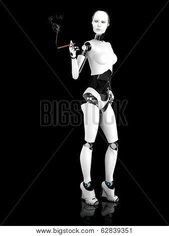 Sexy Robot Woman Smoking A Cigar Nr 2.