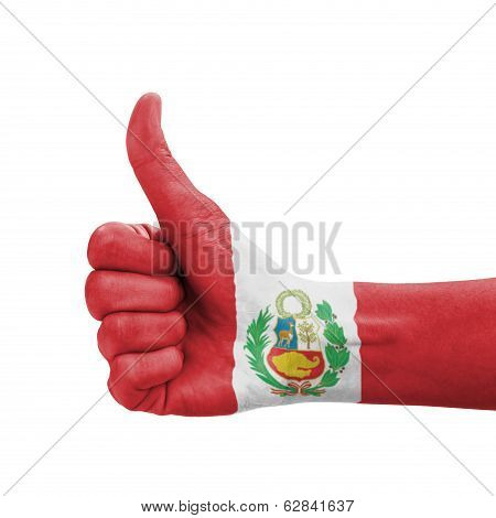 Hand With Thumb Up, Peru Flag Painted As Symbol Of Excellence, Achievement, Good - Isolated On White