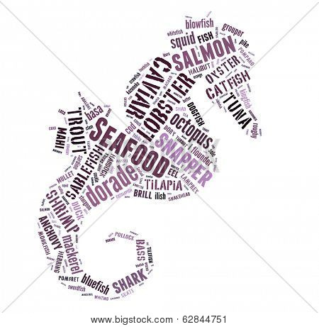 poster of Seafood word cloud in shape of prawn