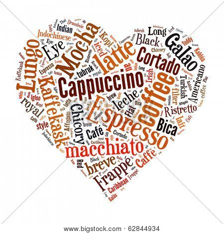 Coffee, espresso, cappuccino, macchiato, Word cloud, tag cloud text business concept. Word collage