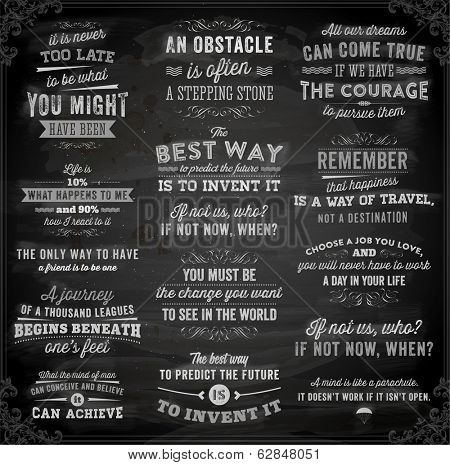 Set of Quotes Typographical Posters, Vector Design. Motivational Quotes for Inspirational Art. Chalkboard Background, Chalk Design.