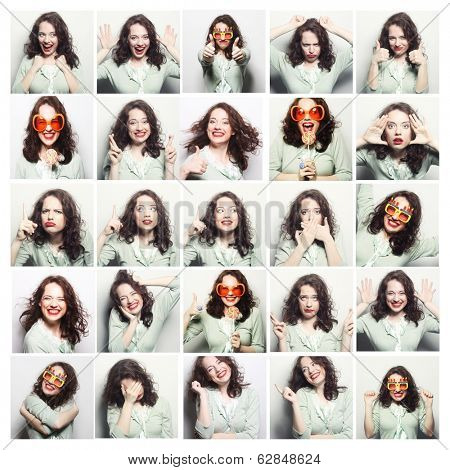 Collage of woman different facial expressions.Studio shot. poster