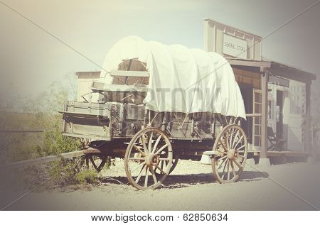 Western wagon and cowboy town general store