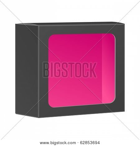 Blank black product package box with window. Vector, isolated on