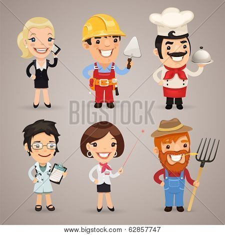 Professions Cartoon Characters Set1.2 In the EPS file each element is grouped separately. Clipping paths included in additional jpg format. poster