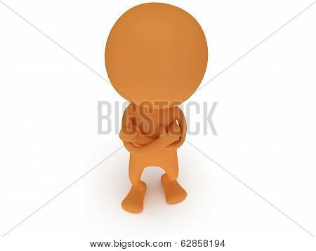 3d man stand with folded arms
