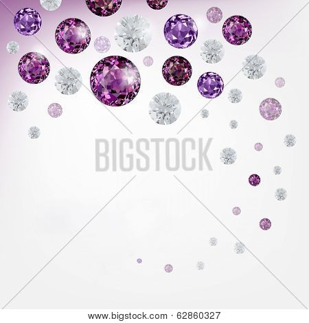 Abstract background with diamonds and  gemstones