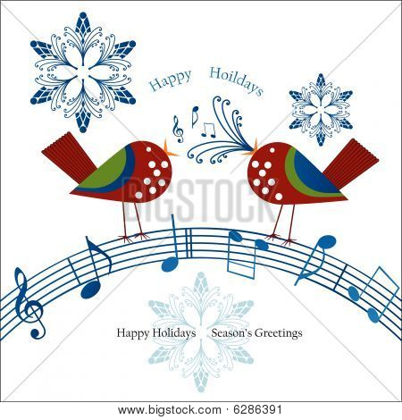 Whimsical Birds Singing Over Musical Notes Christmas