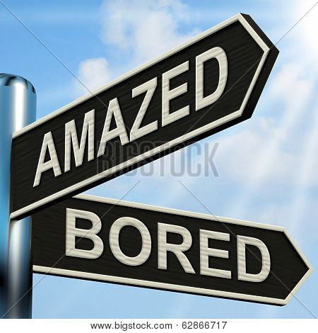 Amazed Bored Signpost Shows Dull And Amazing