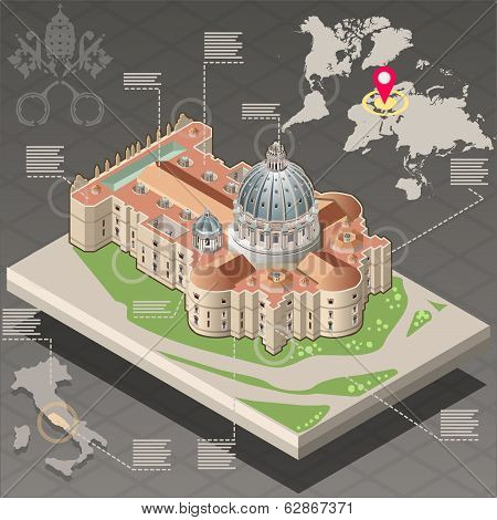 Isometric Infographic Of Saint Peter Of Vatican