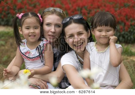 Happy mothers and daughters