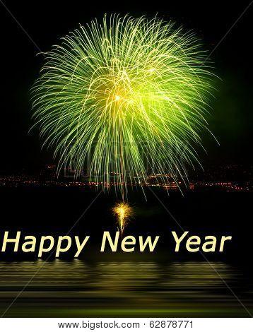 Blast of Fireworks celebrating New Years Eve
