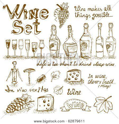 Set of wine elements