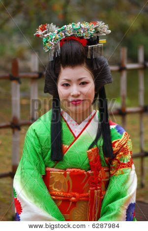 Japanese lady in kimono, Himeji, Japan
