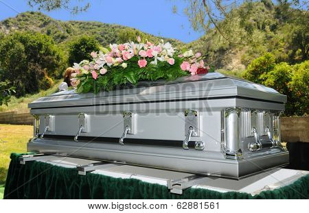 Image of a stainless steel Casket with Flowers
