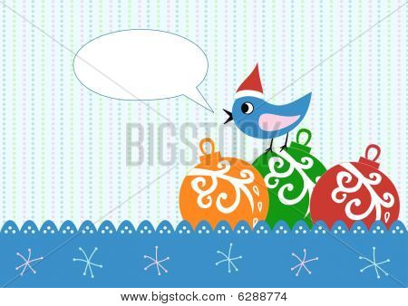 Xmas Greeting Card With Balls And Bird