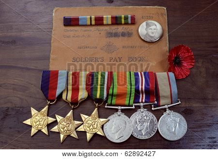 Adelaide, Australia - April 2, 2014: Original Australian Army World War Ii Campaign Medals With Sold