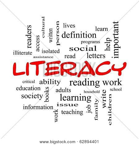 Literacy Word Cloud Concept In Red Caps
