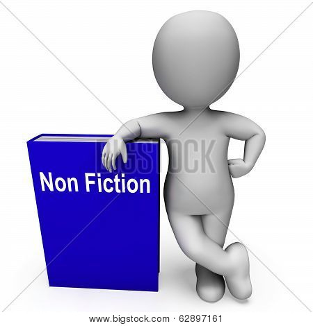 Non Fiction Book And Character Shows Educational Text Or Facts