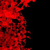 Red abstract molecule DNA on a black background poster