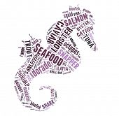 Seafood word cloud in shape of prawn poster