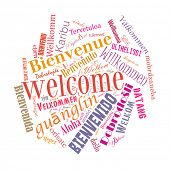 Welcome phrase in 78 different languages. Words cloud concept poster